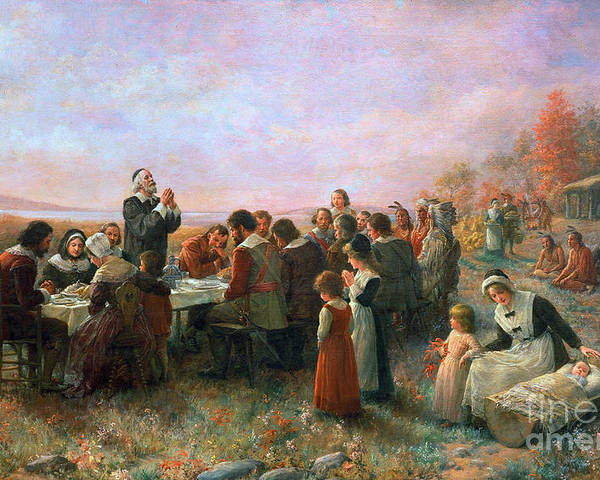 1621 Poster featuring the photograph The First Thanksgiving by Granger