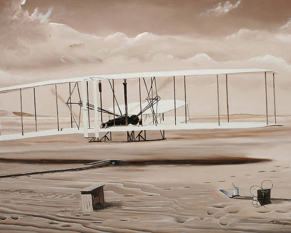 Aircraft Art Poster featuring the painting The First To Fly by Kenneth Young