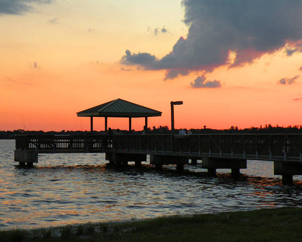 Sunsets Poster featuring the photograph The Fishing Dock At Sunset by Rosalie Scanlon