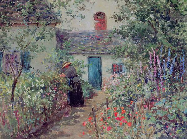 The Flower Garden Poster featuring the painting The Flower Garden by Abbott Fuller Graves