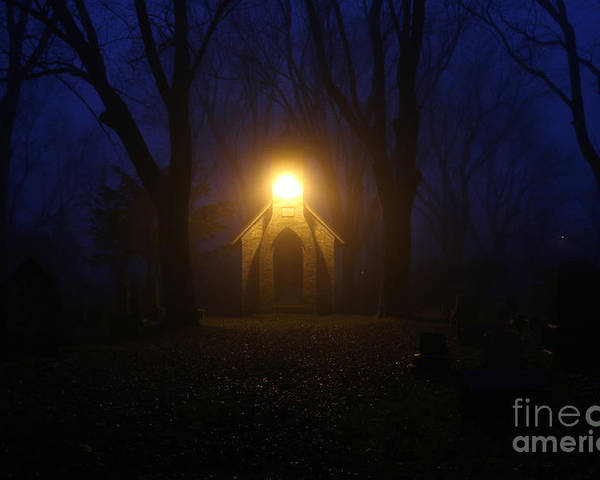 Cemetery Poster featuring the photograph The Foggiest Idea 3 by Eric Curtin