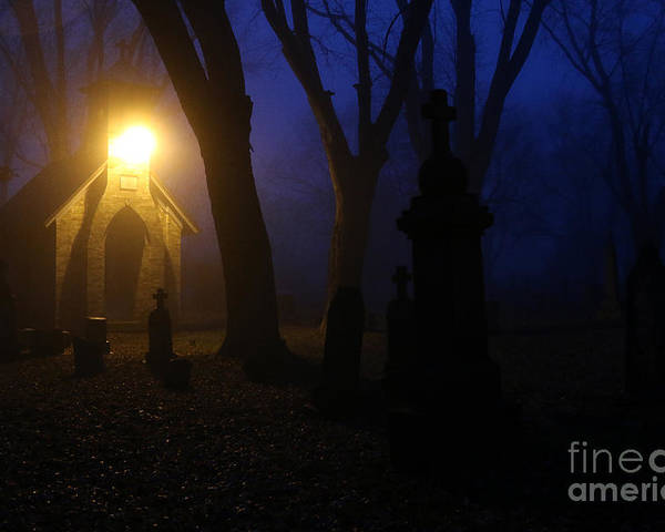 Cemetery Poster featuring the photograph The Foggiest Idea. by Eric Curtin