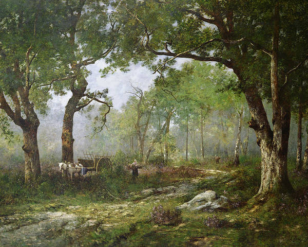 The Forest Of Fontainebleau Poster featuring the painting The Forest Of Fontainebleau by Leon Richet
