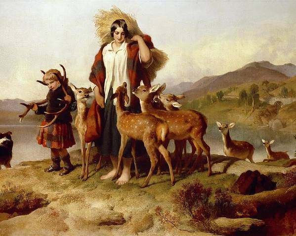 The Poster featuring the painting The Forester's Family by Sir Edwin Landseer