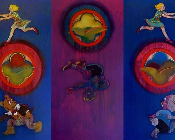 The Drums Of The Fruit Machine Stop At Random. Triptych Poster featuring the painting The Fruit Machine Stops II by Charles Stuart