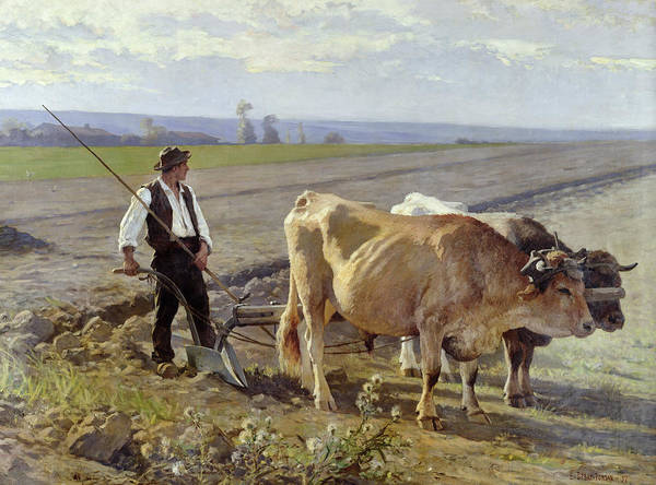 The Poster featuring the painting The Furrow by Edouard Debat-Ponsan