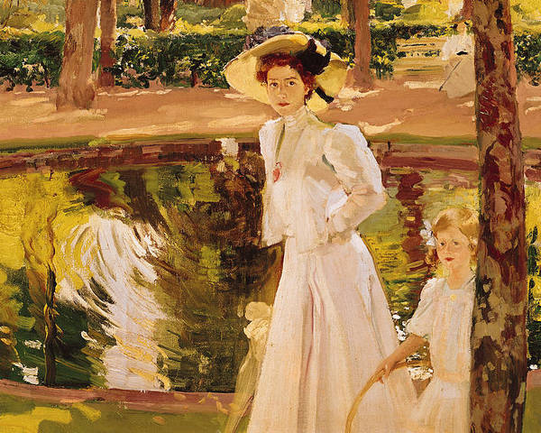 Garden Poster featuring the painting The Garden by Joaquin Sorolla y Bastida