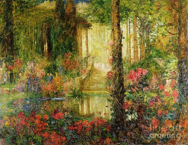 The Poster featuring the painting The Garden Of Enchantment by Thomas Edwin Mostyn