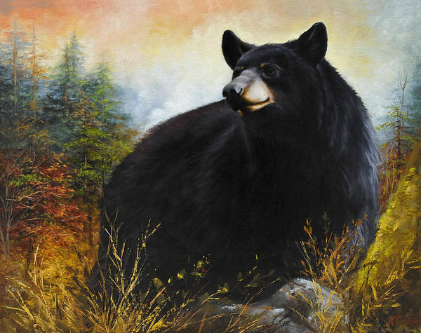 Fall Bear Painting Poster featuring the painting The Gatekeeper by Katherine Tucker
