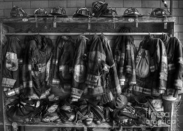 September 11 Poster featuring the photograph The Gear Of Heroes - Firemen - Fire Station by Lee Dos Santos