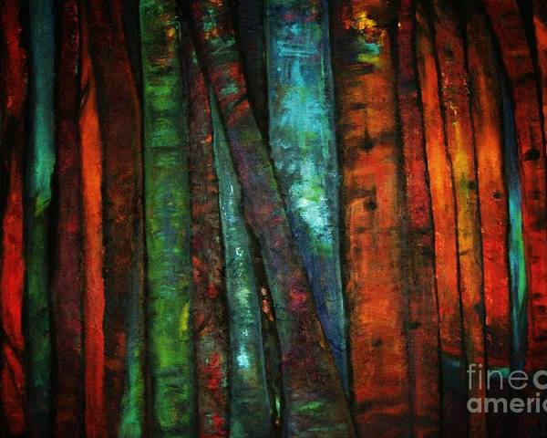 Trees Poster featuring the painting The Giants Two by Sidra Myers