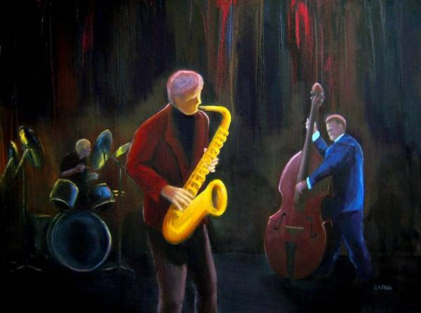 Jazz Poster featuring the painting The Gig by Clemens Greis