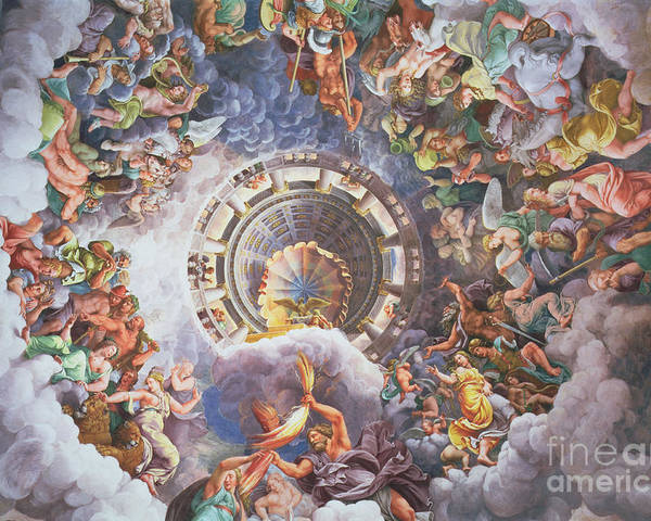 The Poster featuring the painting The Gods Of Olympus by Giulio Romano