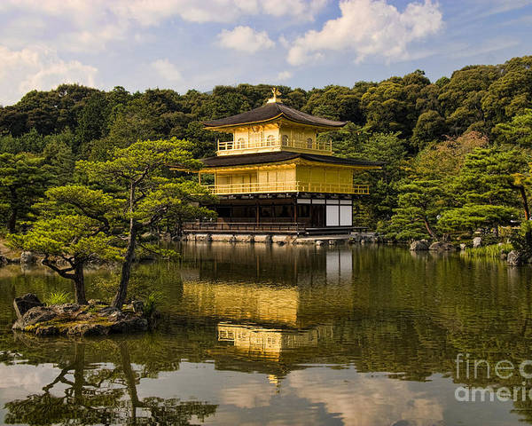 Colour Poster featuring the photograph The Golden Pagoda In Kyoto Japan by David Smith