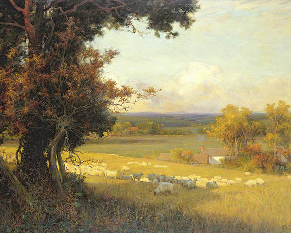 Pastoral Poster featuring the painting The Golden Valley by Sir Alfred East