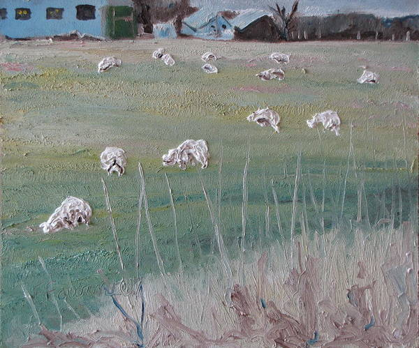 Fournier Poster featuring the painting The Grazing Sheep by Francois Fournier