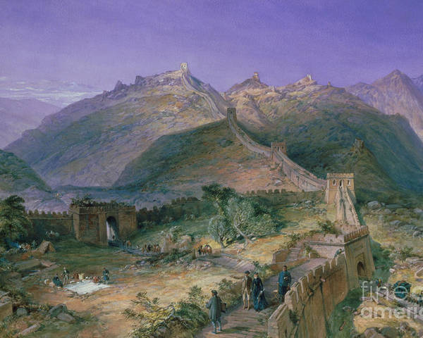 Landscape; Changcheng; Tourist; Tourists; Picnic; Chinese; European; Female; Male; Viewing; Visiting; Tour Poster featuring the painting The Great Wall Of China by William Simpson