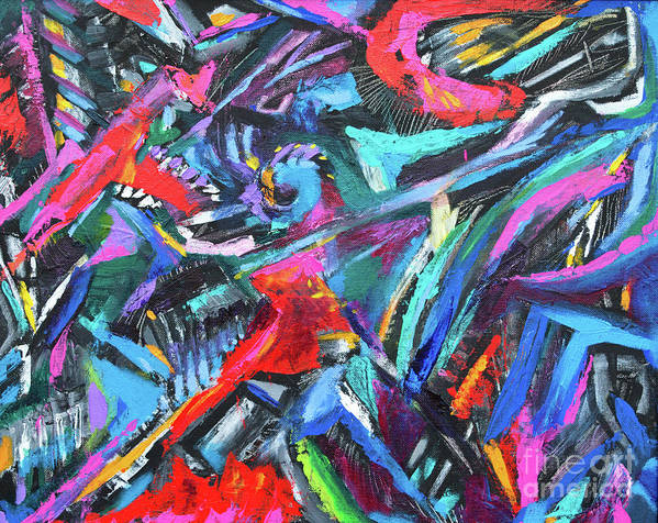 Bold Strokes And Intense Texture.vibrant Colors And Black Accents .contemporary Modern Abstract Expressionist Painting  Poster featuring the painting The green dragons Tail by Priscilla Batzell Expressionist Art Studio Gallery