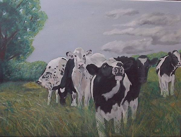 Cows Poster featuring the painting The Greeter by Robert Tower