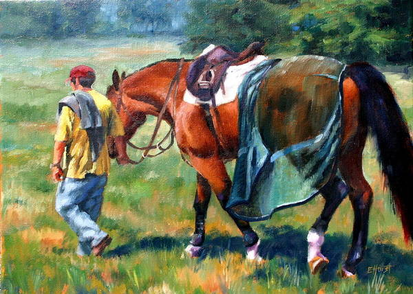 Equine Paintings Poster featuring the painting The Groom by Elaine Hurst