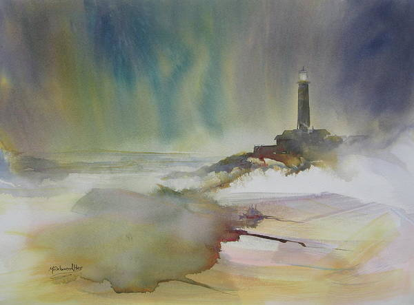 Lighthouse Poster featuring the painting The Guardian by Madelaine Alter
