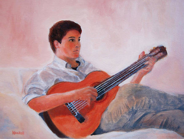 Konkol Poster featuring the painting The Guitarist by Lisa Konkol