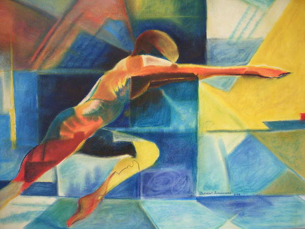 Gymnast Athlete Blue Life Male Figure Poster featuring the painting The Gymnast by Benedict Olorunnisomo