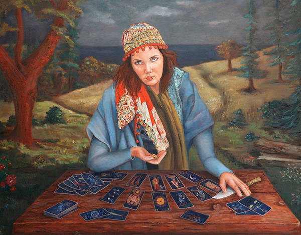Figurative Art Poster featuring the painting The Gypsy Fortune Teller by Enzie Shahmiri