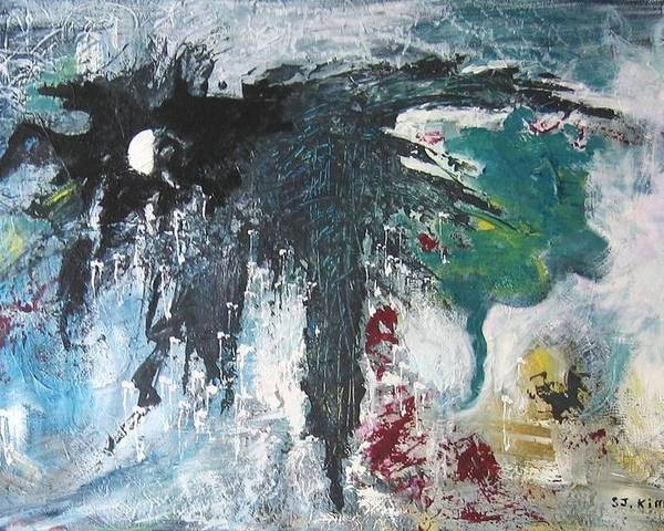 Abstract Paintings Poster featuring the painting The Half Moon by Seon-Jeong Kim