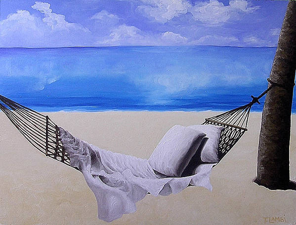 Seascape Poster featuring the painting The Hammock by Trisha Lambi