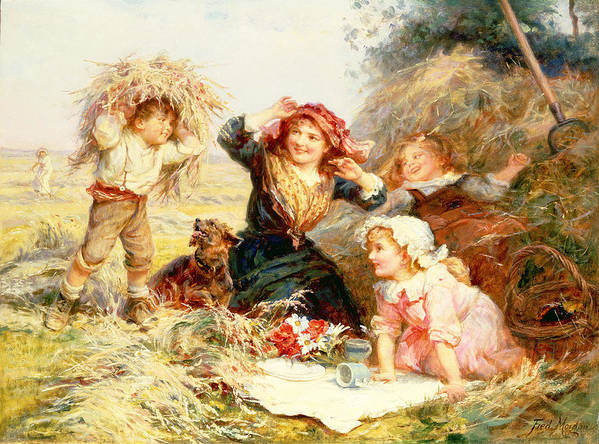 Quaint Poster featuring the painting The Haymakers by Frederick Morgan