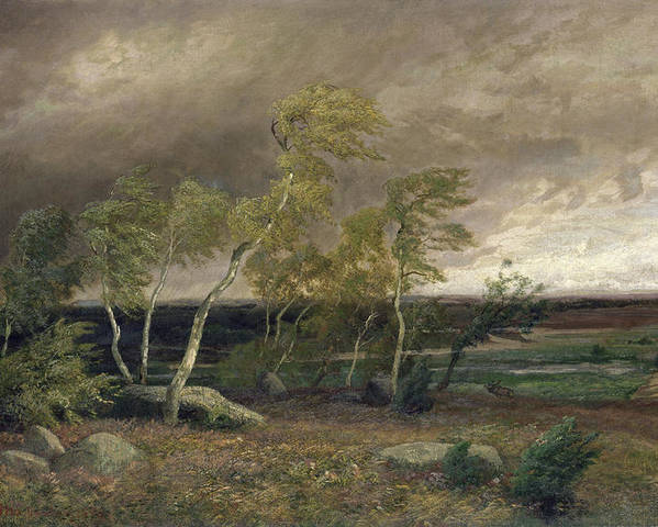 The Poster featuring the painting The Heath In A Storm by Valentin Ruths