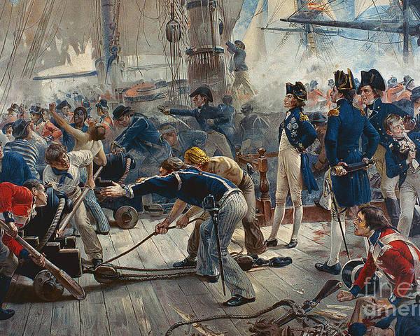 The Hero Of Trafalgar (colour Litho) Poster featuring the painting The Hero Of Trafalgar by William Heysham Overend