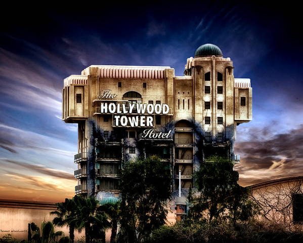 Hollywood Tower Hotel Disneyland Poster featuring the mixed media The Hollywood Tower Hotel Disneyland Pa 02 by Thomas Woolworth