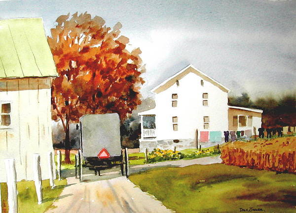 Amish Poster featuring the painting The Homestead by Faye Ziegler