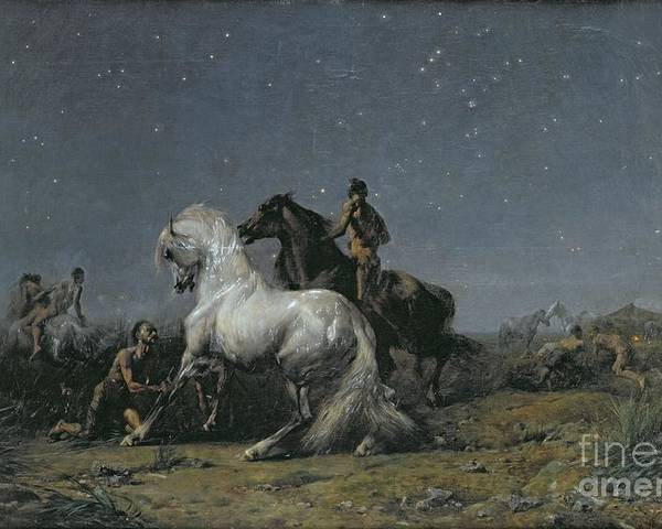 The Poster featuring the painting The Horse Thieves by Ferdinand Victor Eugene Delacroix