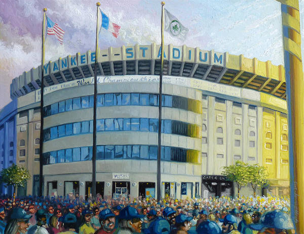 Yankee Stadium Paintings Poster featuring the painting The House That Steinbrenner Wrecked Opening Day by Gregg Hinlicky