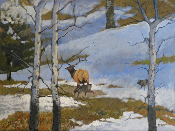 Elk Poster featuring the painting The Hunt by Robert Bissett