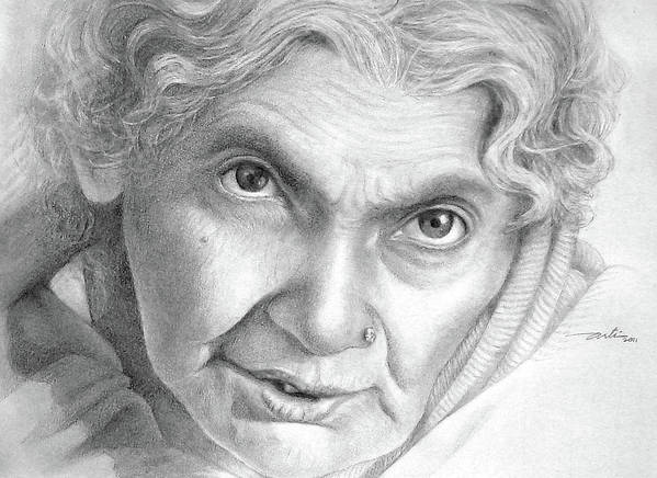 Women Poster featuring the drawing The Intense Gaze by Arti Chauhan