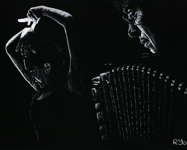 Musician Poster featuring the pastel The Intensity Of Flamenco by Richard Young