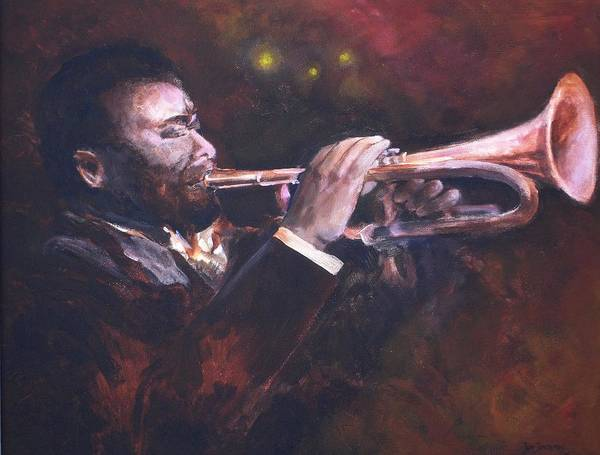 Trumpet Poster featuring the painting The Jazz Player by Jun Jamosmos