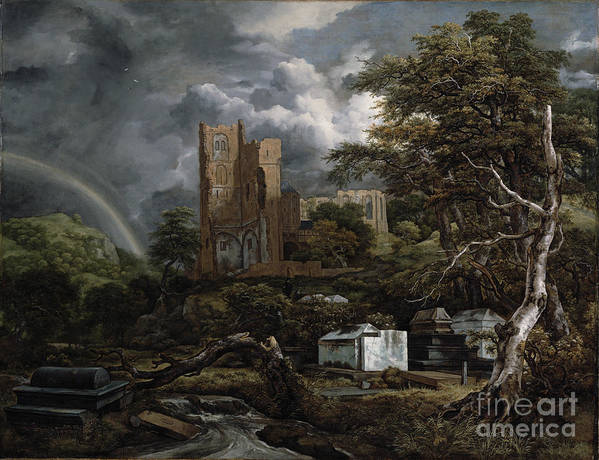 The Poster featuring the painting The Jewish Cemetery by Jacob Isaaksz Ruisdael
