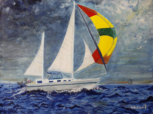 Seascape Poster featuring the painting The Ketch by Irena Grant-Koch