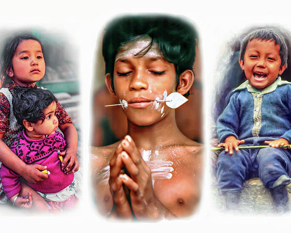 Kids Poster featuring the photograph The Kids Of India Triptych by Steve Harrington