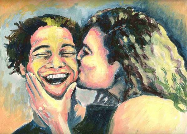 Man Poster featuring the painting The Kiss by Nicole Zeug