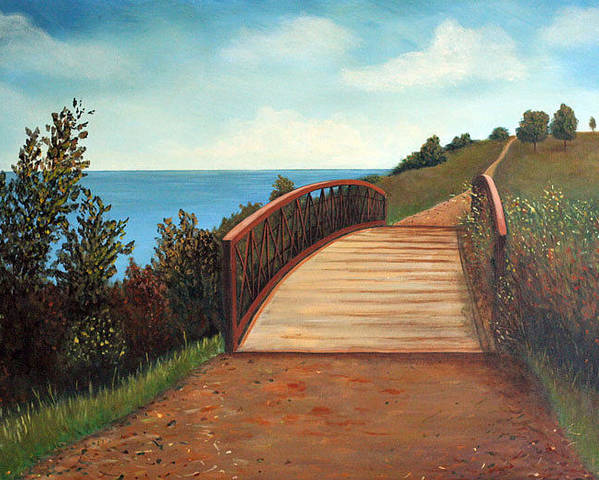 Original Acrylic Landscape Poster featuring the painting The Kissing Bridge by Sharon Steinhaus