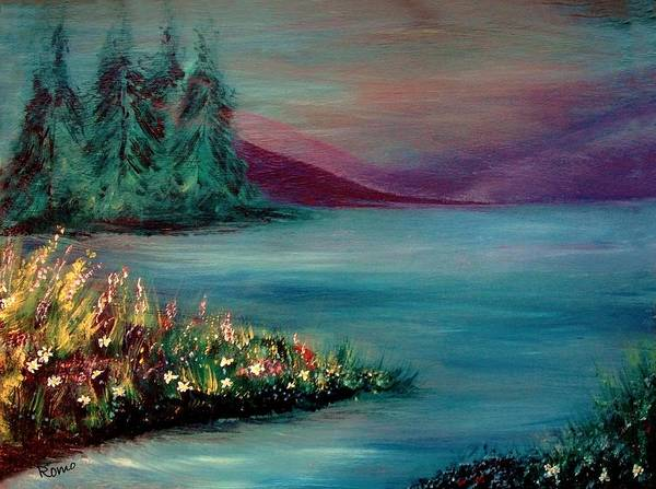 Landscape Poster featuring the painting The Lake by Robin Monroe