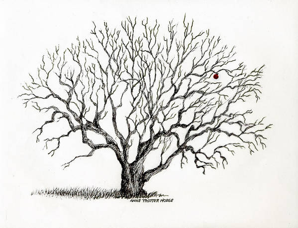 Landscape Poster featuring the print The Last Apple by Anne Trotter Hodge