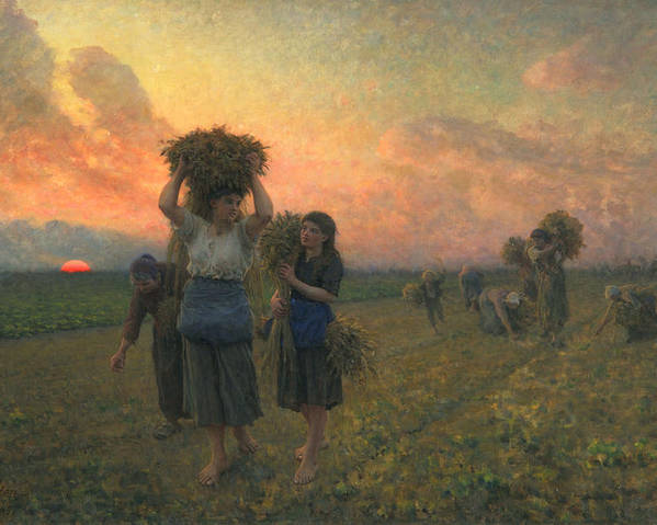 French Realist Poster featuring the painting The Last Gleanings by Jules Breton