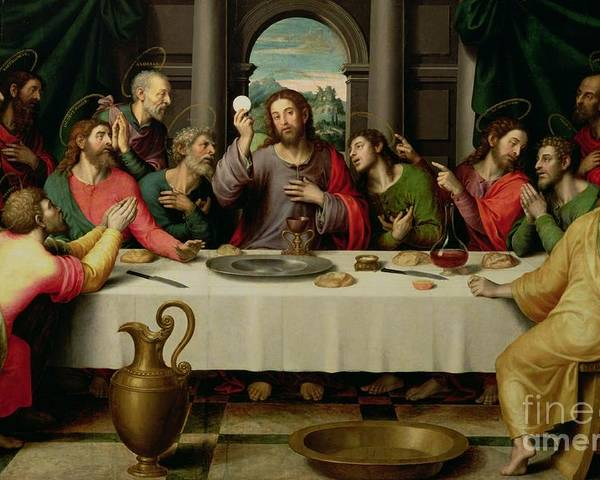 The Last Supper (oil On Panel) By Vicente Juan Macip (juan De Juanes) (c.1510-79) Poster featuring the painting The Last Supper by Vicente Juan Macip